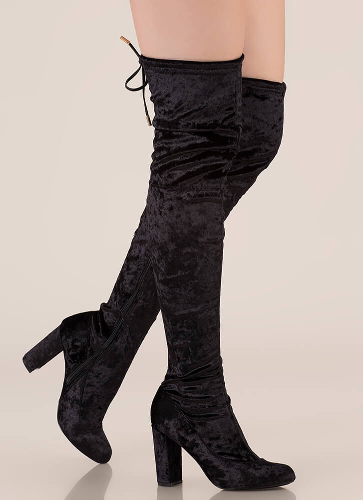 Chic Vibe Chunky Velvet Thigh-High Boots BLACK