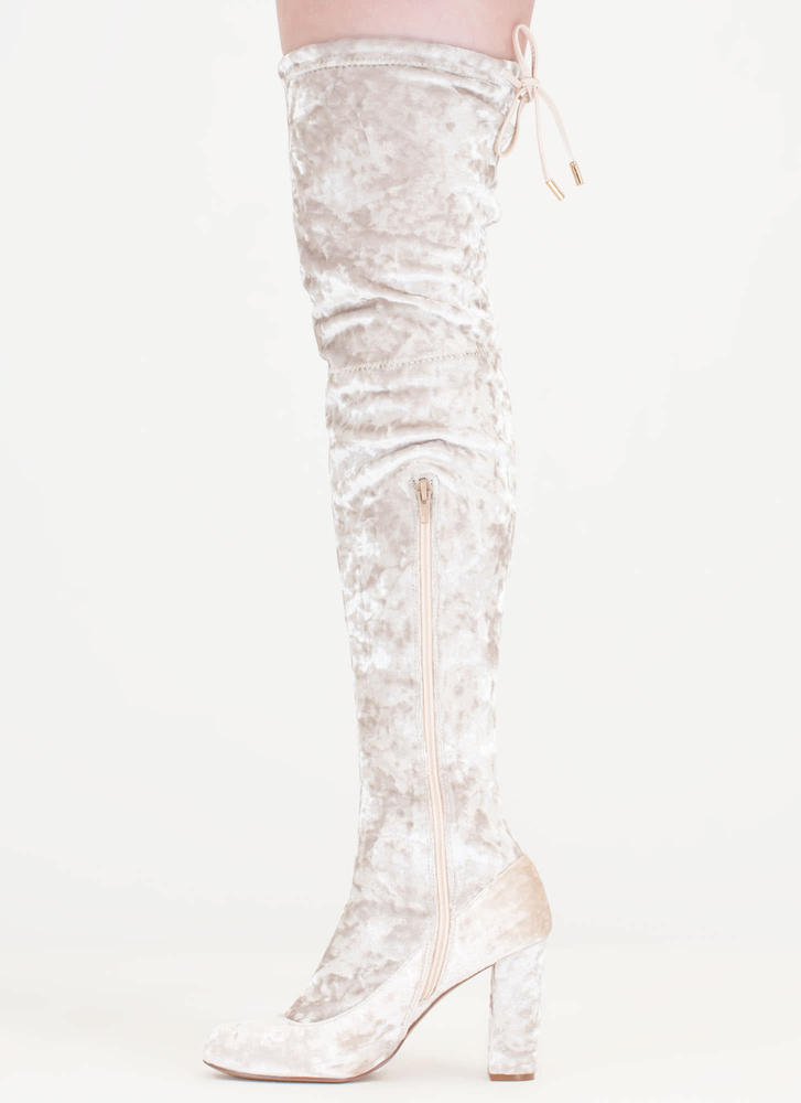 Chic Vibe Chunky Velvet Thigh-High Boots CREAM
