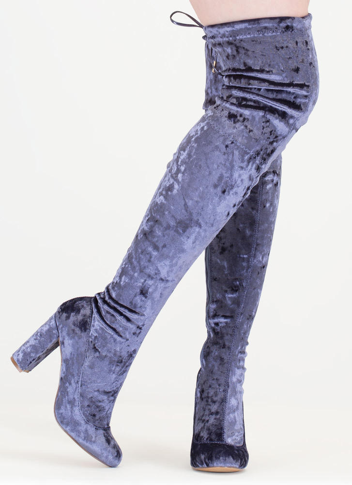Chic Vibe Chunky Velvet Thigh-High Boots GREY