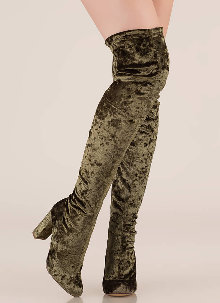 Chic Vibe Chunky Velvet Thigh-High Boots OLIVE