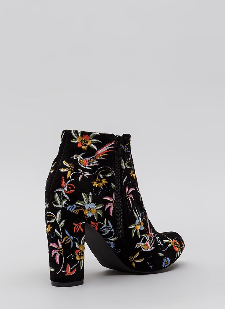 Fanciful Florals Chunky Velvet Booties BLACK