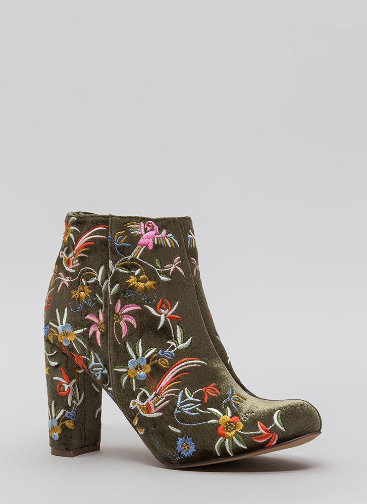 Fanciful Florals Chunky Velvet Booties OLIVE