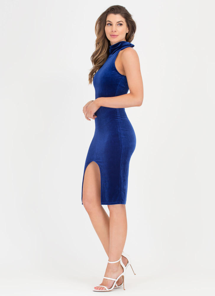 Oh Slit Turtleneck Velvet Midi Dress ROYAL