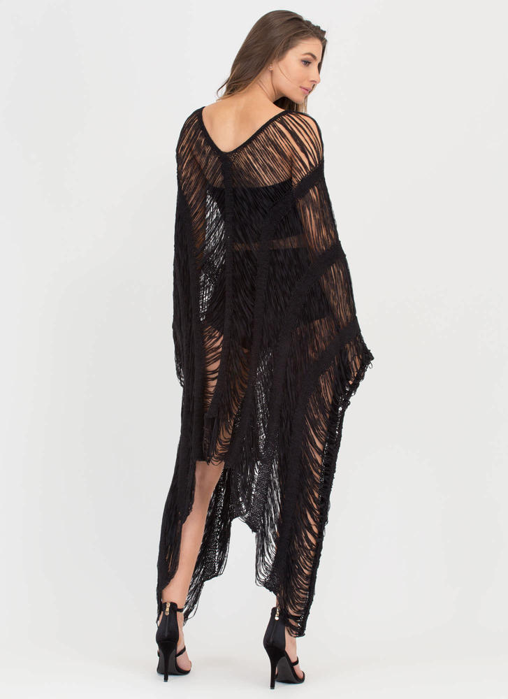 New Story Shredded Sheer High-Low Dress BLACK