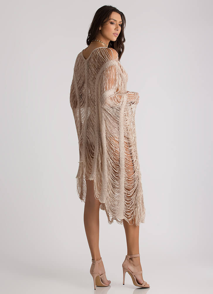 New Story Shredded Sheer High-Low Dress NUDE
