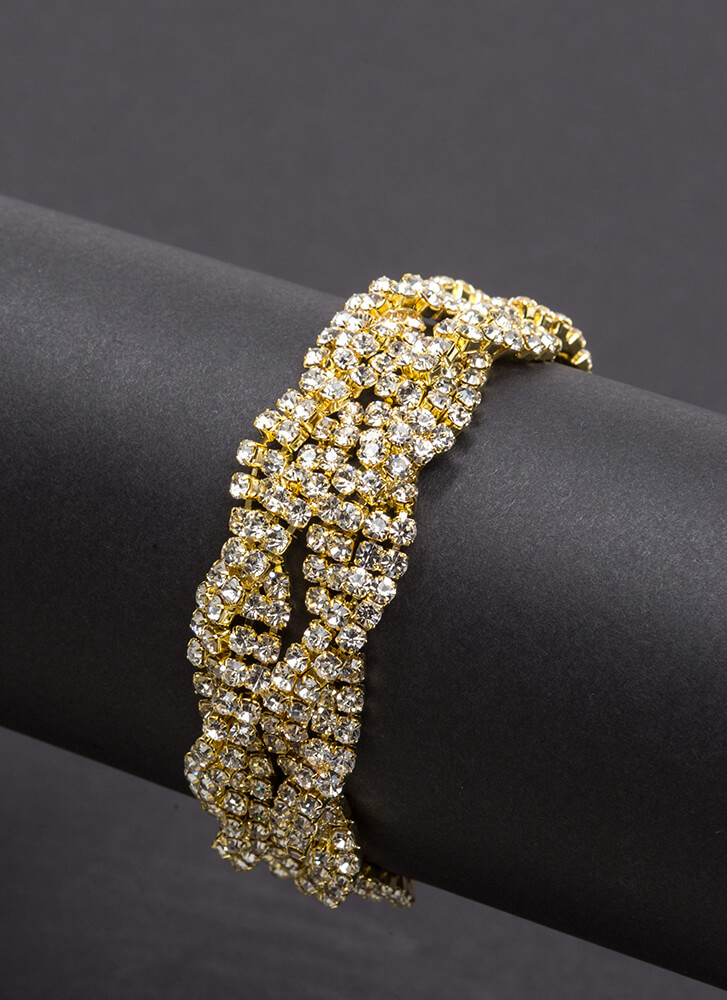 Weave It There Sparkly Braided Bracelet GOLD (You Saved $10)