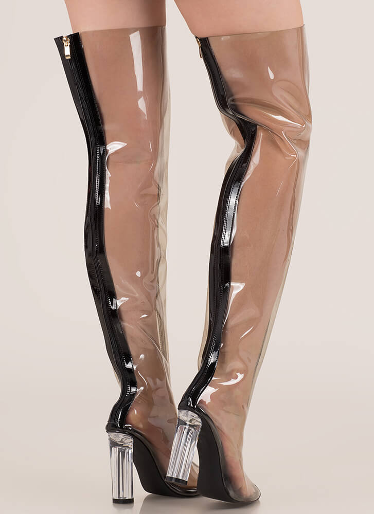 Clear The Way Thigh-High Pointy Boots BLACK