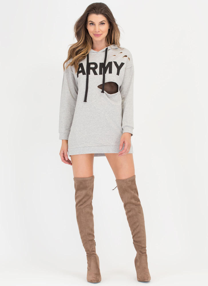 Hole Army Hooded Sweatshirt Dress HGREY