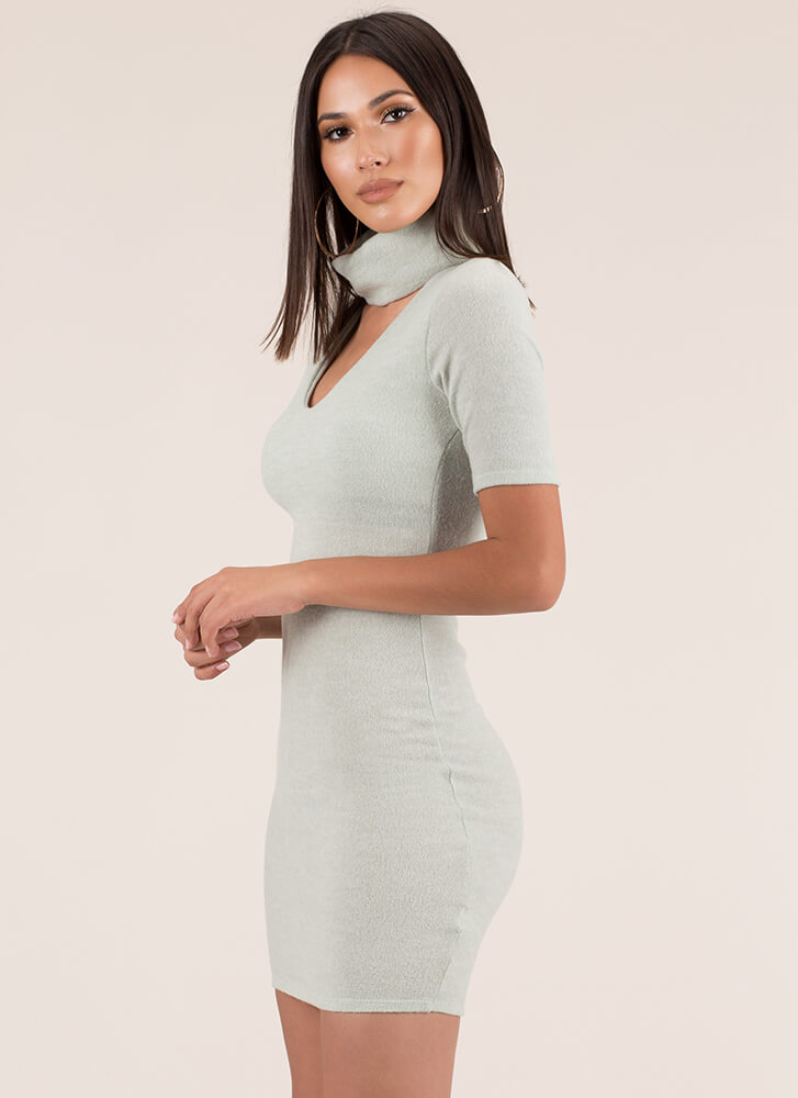 Fuzzy Feels Turtleneck Sweater Dress SAGE