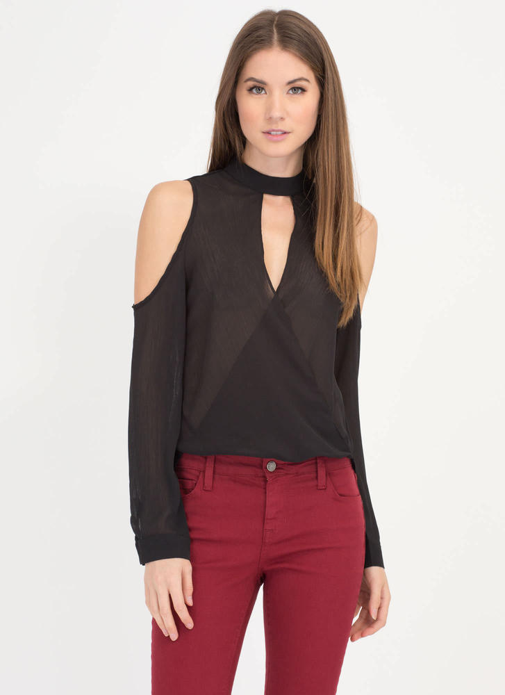 Stylish Romance High-Low Plunge Top BLACK