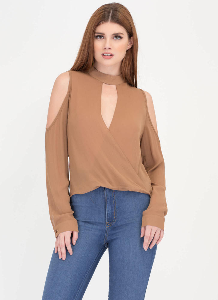 Stylish Romance High-Low Plunge Top MOCHA