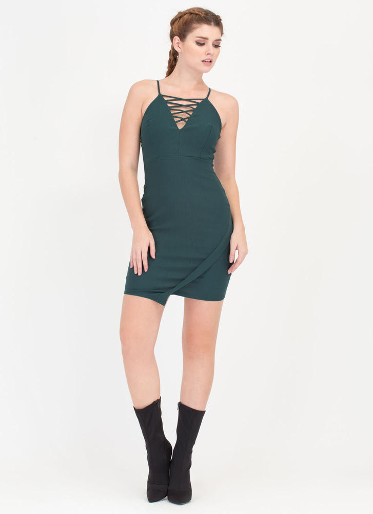 Traffic Stopper Laced Bodycon Minidress HGREEN