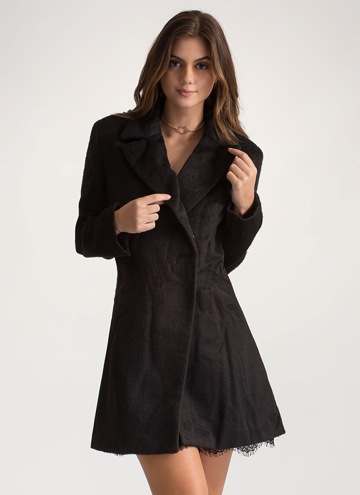 Warming Trend Fuzzy Peacoat BLACK