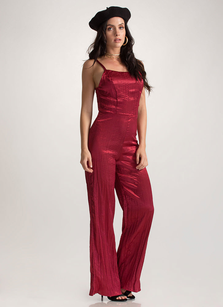 Gilded Up Palazzo Tie-Back Jumpsuit BURGUNDY