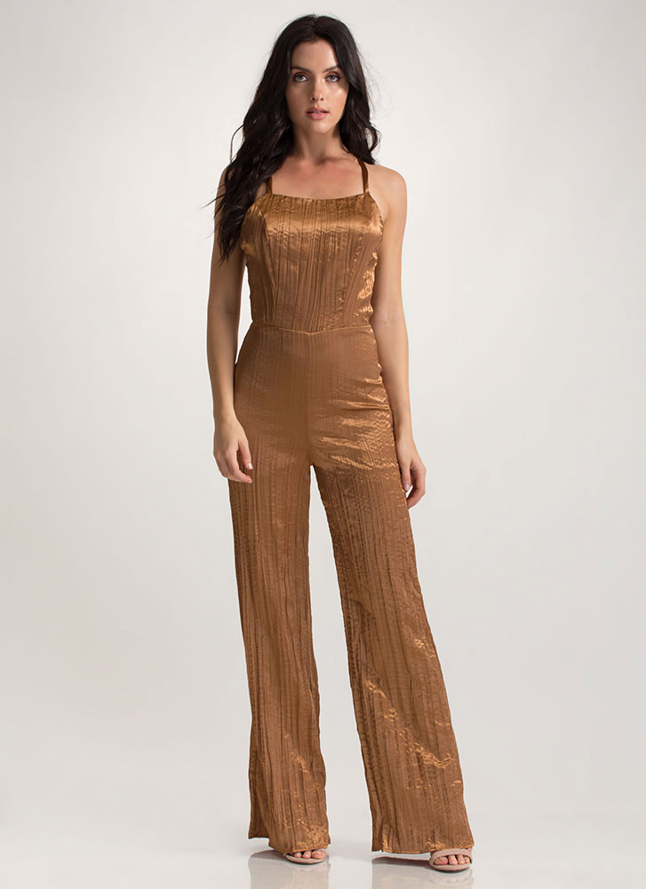 Gilded Up Palazzo Tie-Back Jumpsuit COPPER