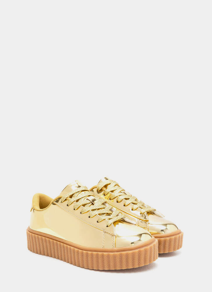 Wildest Gleam Metallic Creeper Sneakers GOLD