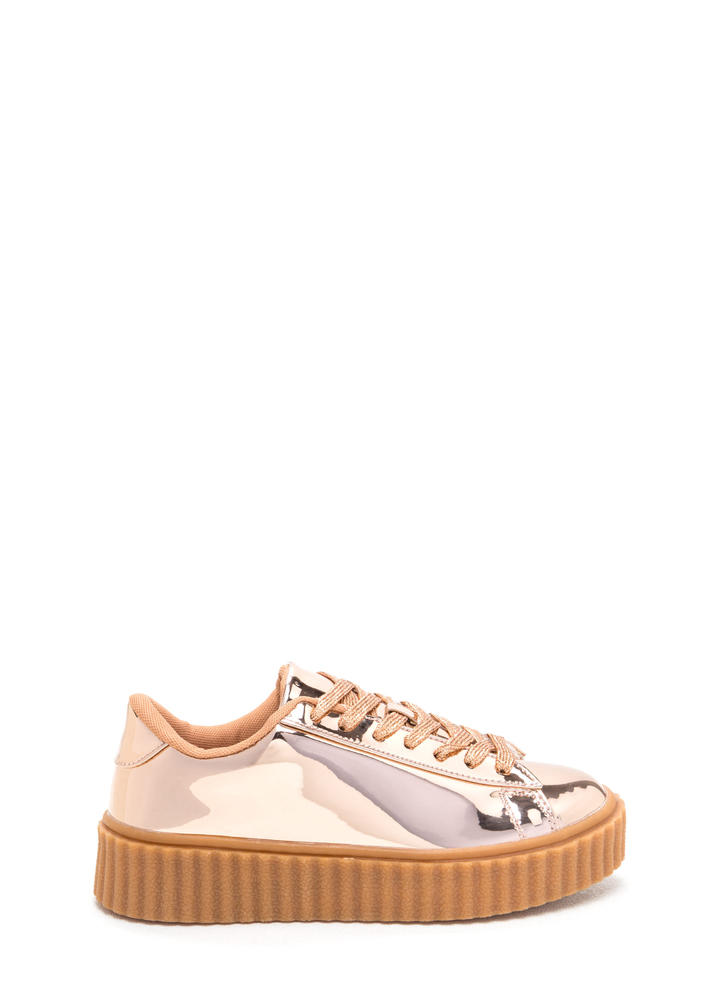 Wildest Gleam Metallic Creeper Sneakers ROSEGOLD