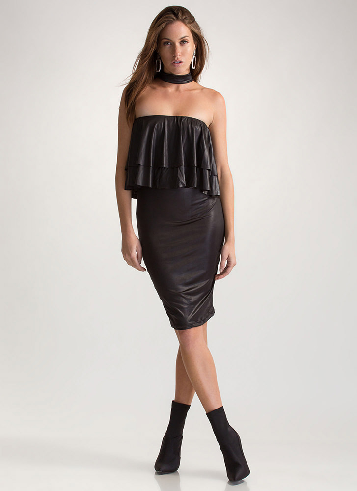 Choker Hold Ruffled Off-Shoulder Dress BLACK