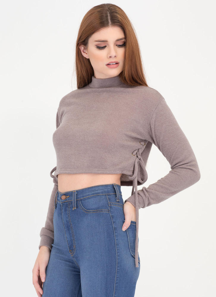 Shorty On The Side Cropped Sweater Top COCOA