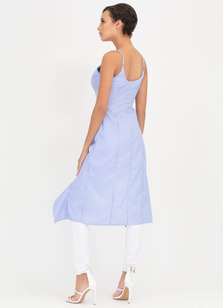 Ruffled Right Button-Up Pinstripe Top BLUE