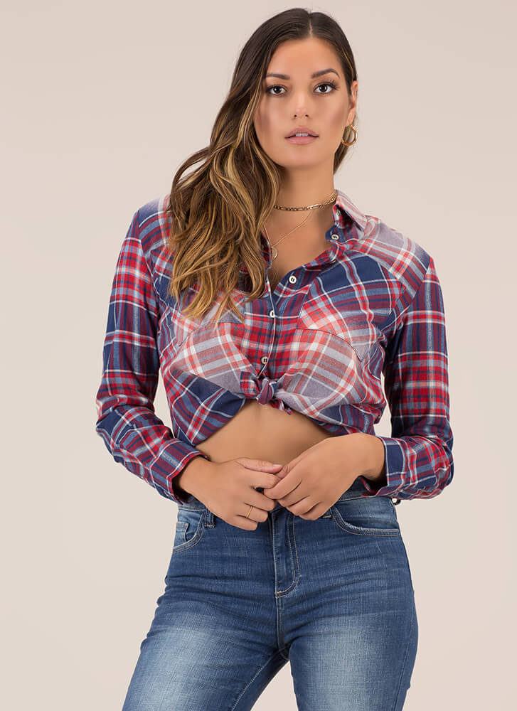 You're A Plaid Girl Button-Up Shirt REDNAVY