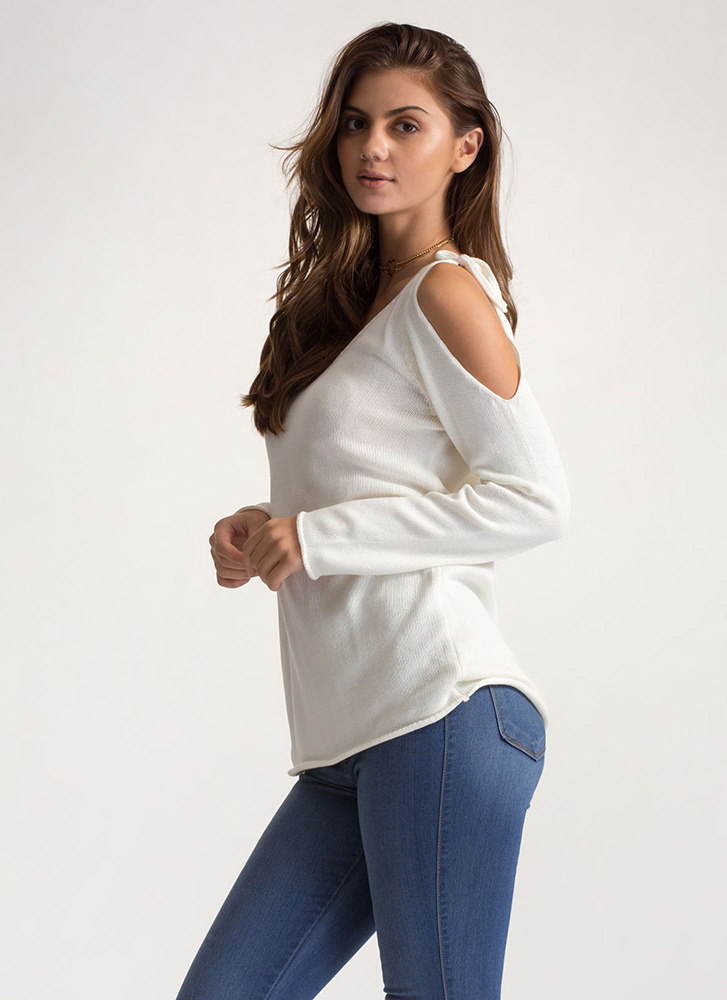 It's Tied Cold-Shoulder Knit Sweater WHITE