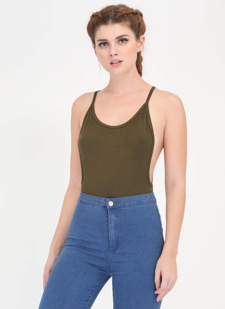 Use Your Muscle Open Back Bodysuit OLIVE