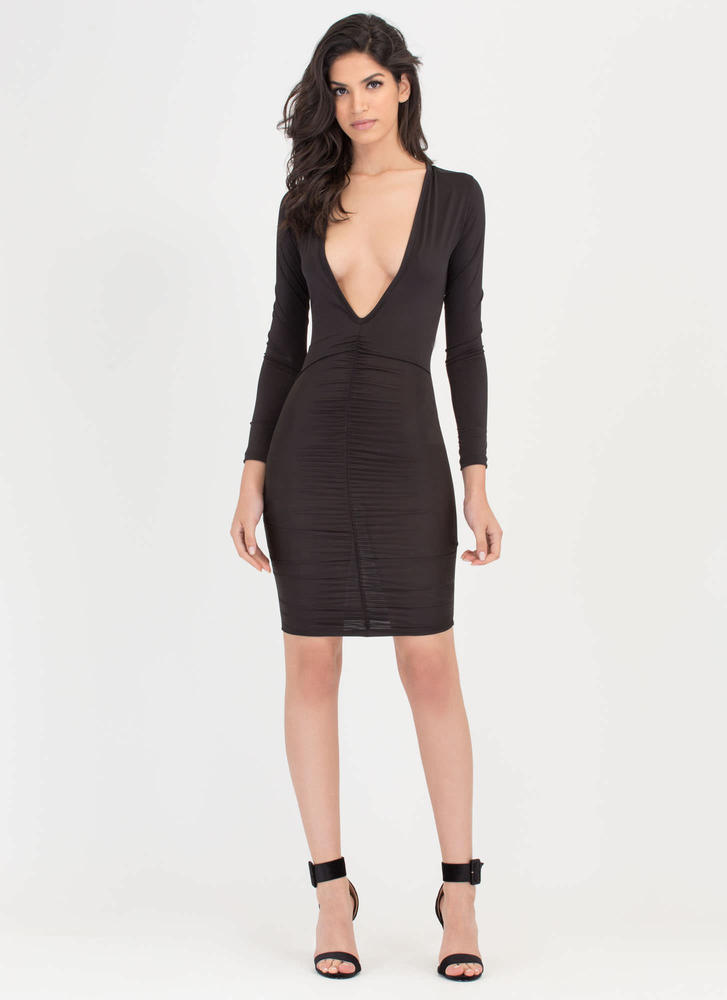 Hot Nights Plunging Ruched Bodycon Dress BLACK