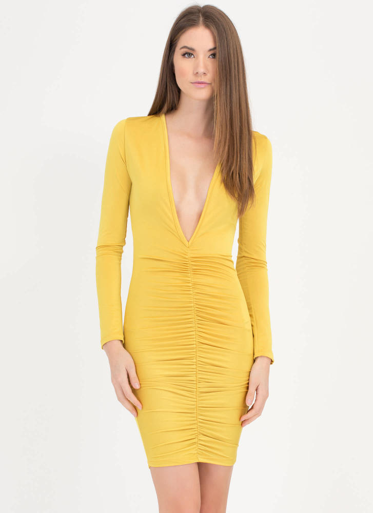 Hot Nights Plunging Ruched Bodycon Dress MUSTARD