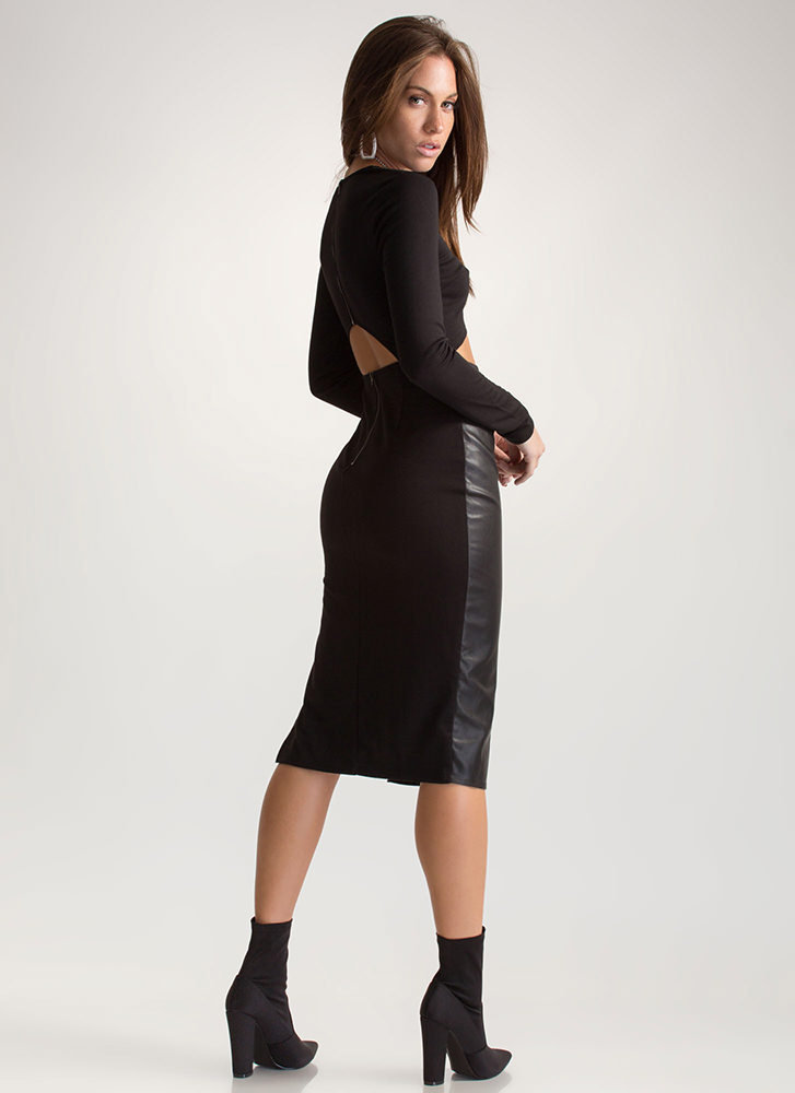 Two Become One Cut-Out Midi Dress BLACK