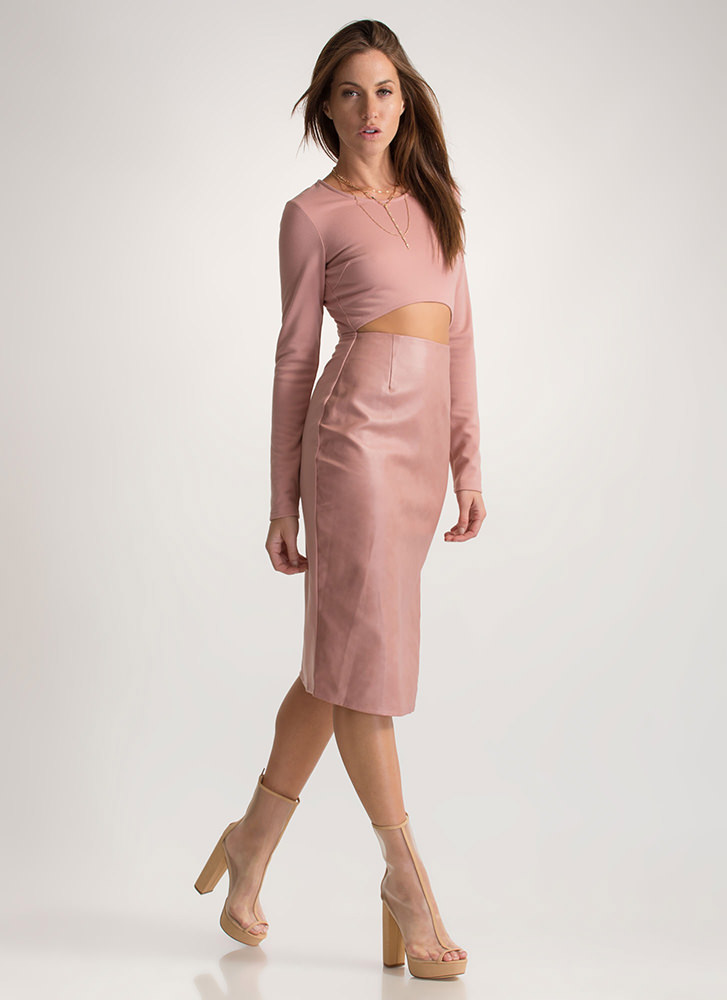 Two Become One Cut-Out Midi Dress ROSE