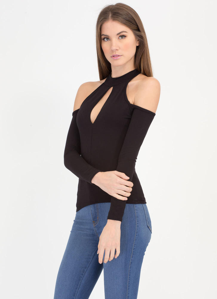 Cut To The Chase Cold-Shoulder Top BLACK