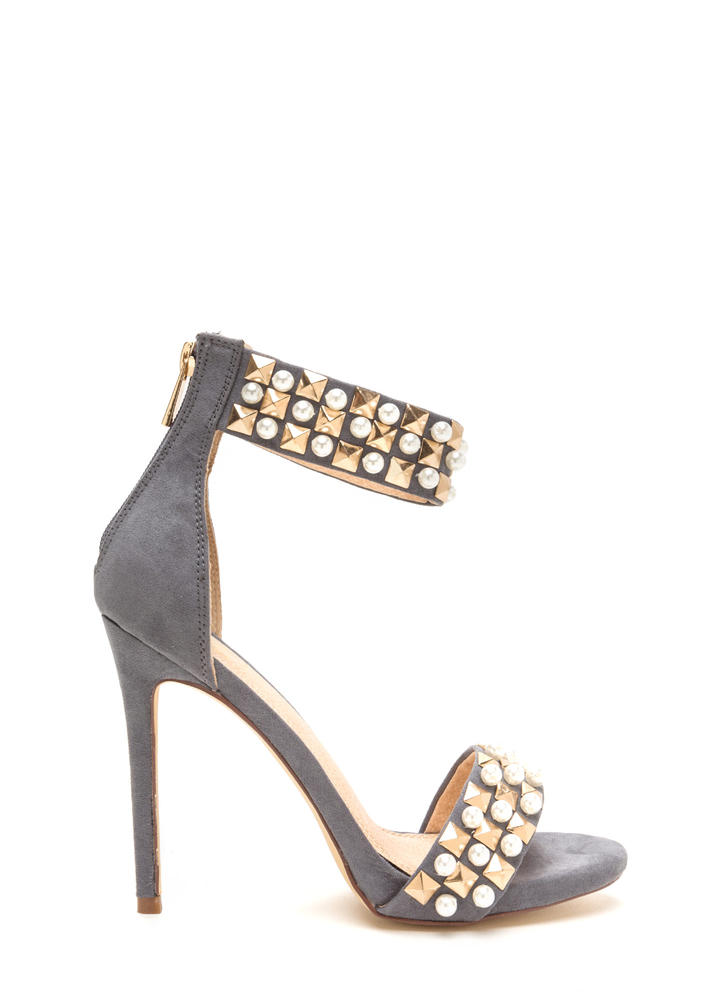 Pearls And Pyramids Ankle Strap Heels GREY