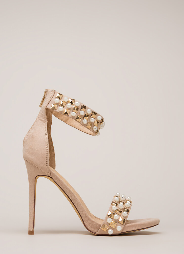 Pearls And Pyramids Ankle Strap Heels NUDE