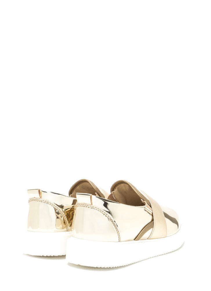 Add A Strap Metallic Slip-On Sneakers GOLD