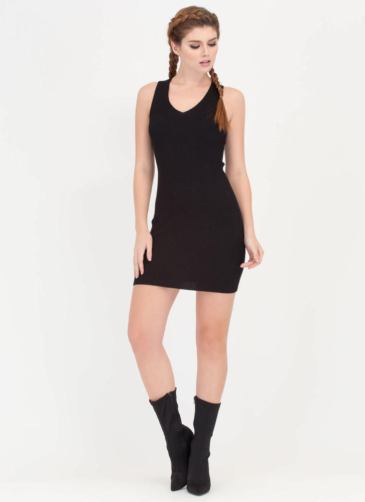 Tie Game Ribbed Lace Back Dress BLACK