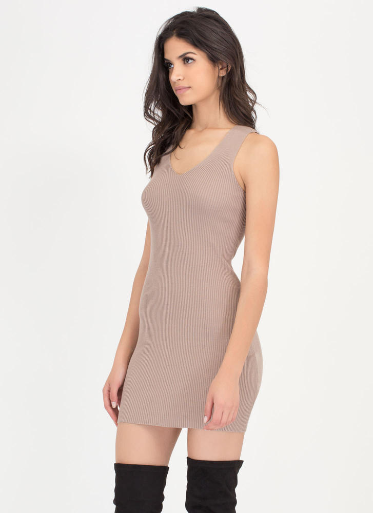 Tie Game Ribbed Lace Back Dress MOCHA