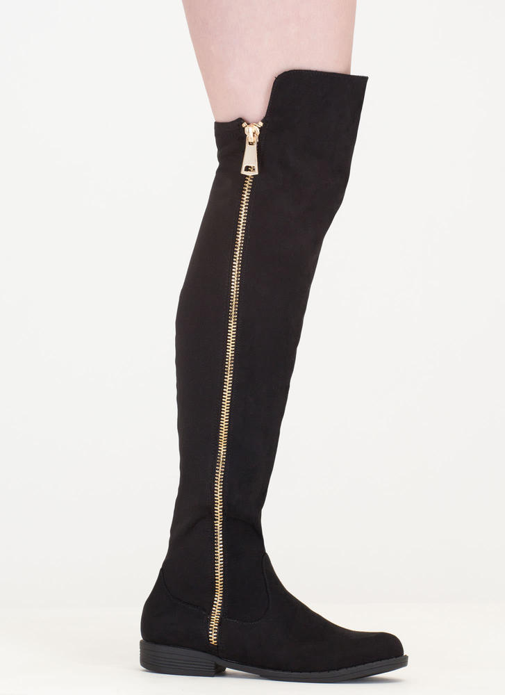 Hip To The Zip Over-The-Knee Boots BLACK