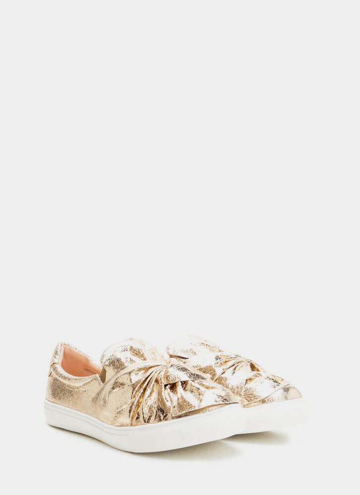 Knot Your Average Metallic Sneakers GOLD