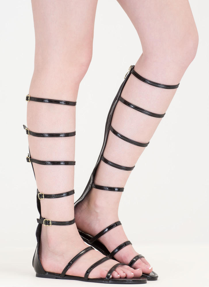 Strap In Vegan Patent Gladiator Sandals BLACK