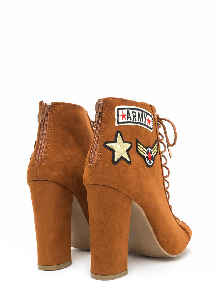 Simply Flawless Lace-Up Chunky Booties CHESTNUT