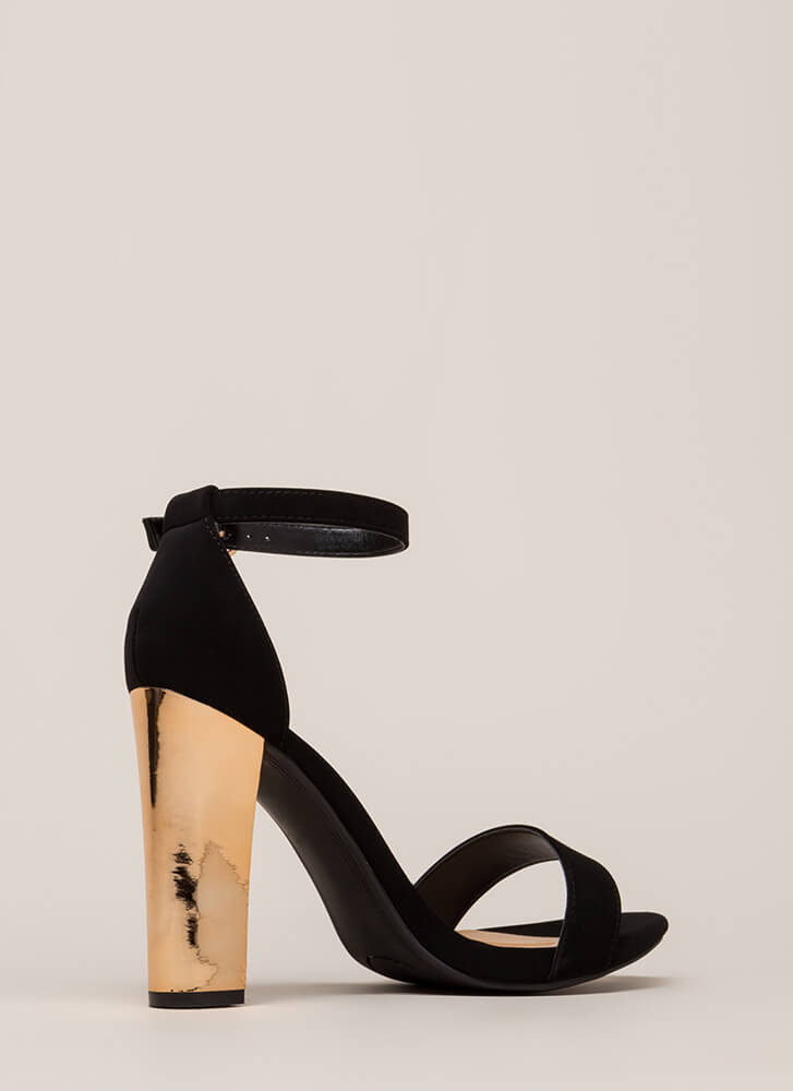 Well Dressed Faux Nubuck Chunky Heels BLACK (Final Sale)