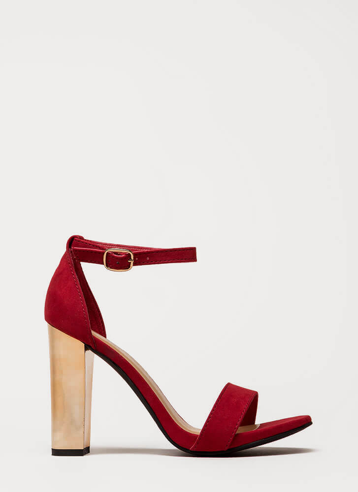 Well Dressed Faux Suede Chunky Heels RED