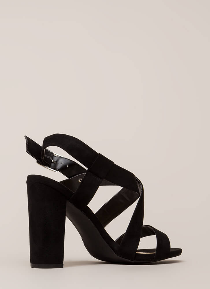 So Strappy Crisscrossed Chunky Heels BLACK