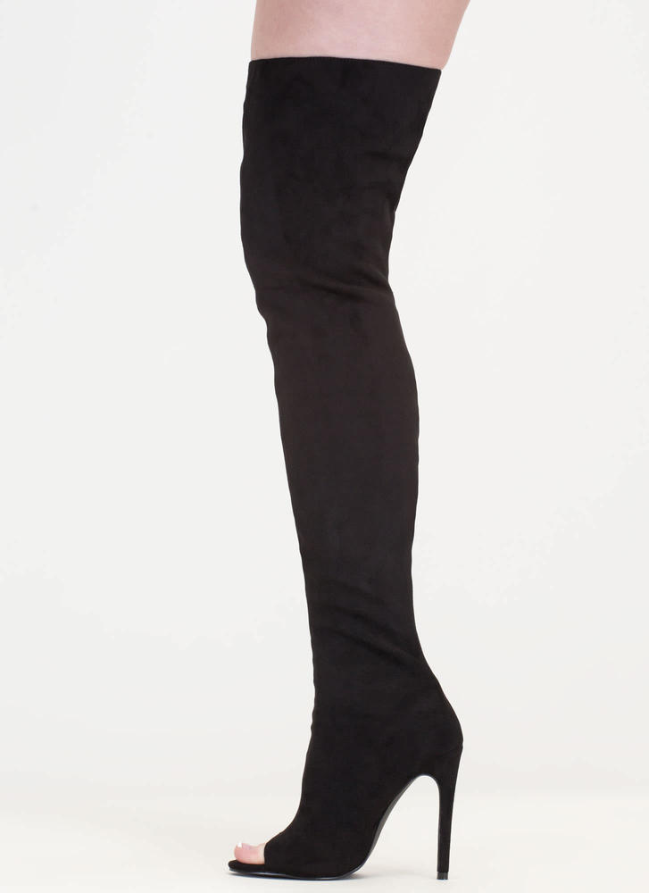 Catwalk Strut Thigh-High Peep-Toe Boots BLACK
