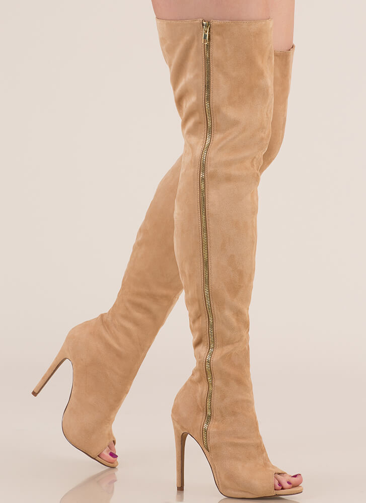 b1913f6edc0 Catwalk Strut Thigh-High Peep-Toe Boots