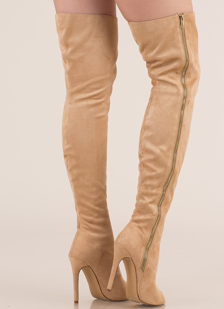 Catwalk Strut Thigh-High Peep-Toe Boots NUDE