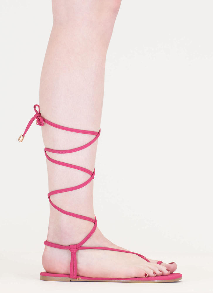 Chic Vacay Faux Nubuck Lace-Up Sandals FUCHSIA (Final Sale)