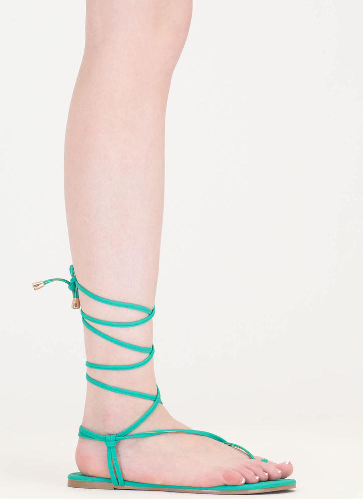 Chic Vacay Faux Nubuck Lace-Up Sandals SEAGREEN (Final Sale)