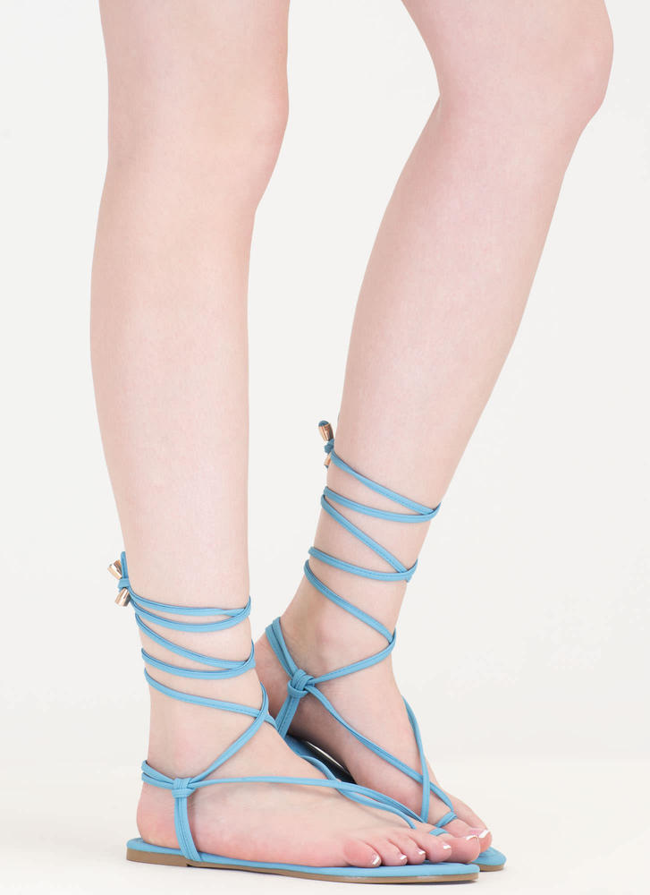 Chic Vacay Faux Nubuck Lace-Up Sandals SKYBLUE